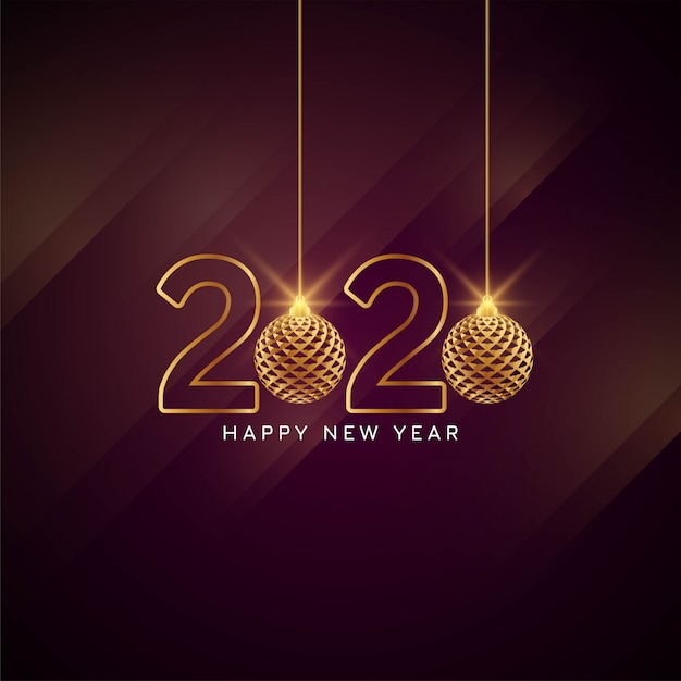 Feliz ano novo 2020 cartão elegante Vetor grátis