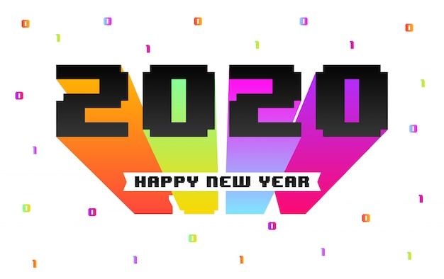 Feliz ano novo 2020 cartão em estilo retrô de 8 bits Vetor Premium