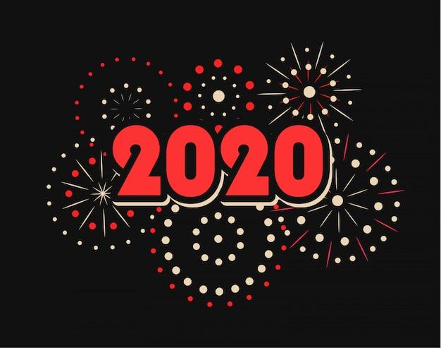 Feliz ano novo 2020 com fogos de artifício Vetor Premium