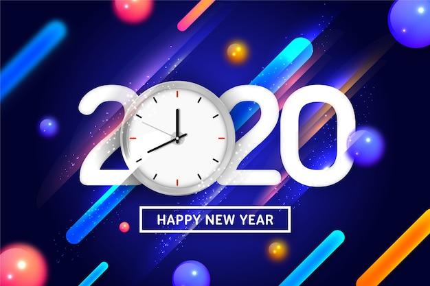Feliz ano novo 2020 com relógio e fundo dinâmico Vetor grátis