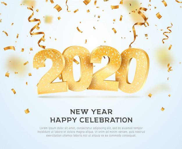 Feliz ano novo 2020 comemorando ilustração vetorial Vetor Premium
