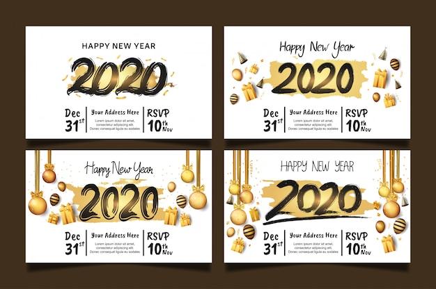 Feliz ano novo 2020 conjunto com escova dourada Vetor Premium