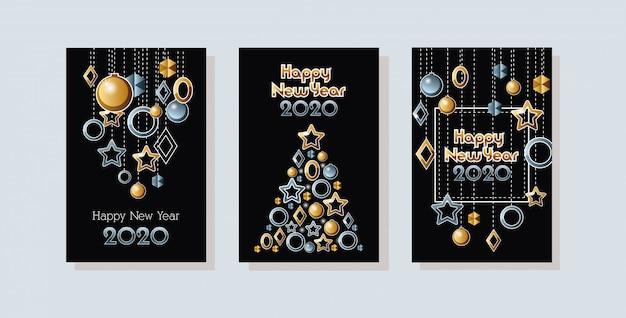 Feliz ano novo 2020 conjunto de celebração cartões Vetor grátis