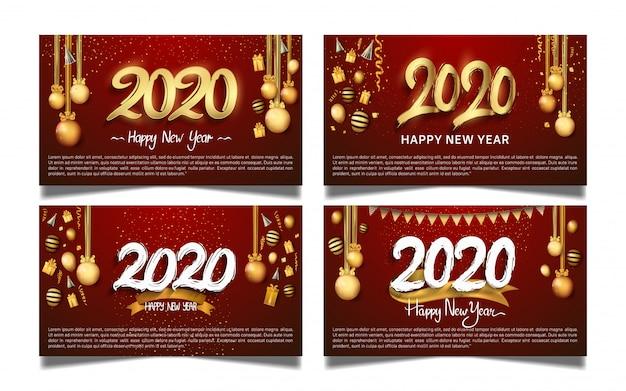 Feliz ano novo 2020 conjunto para banner Vetor Premium