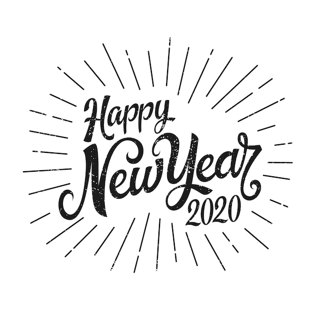 Feliz ano novo 2020 de letras vintage Vetor grátis