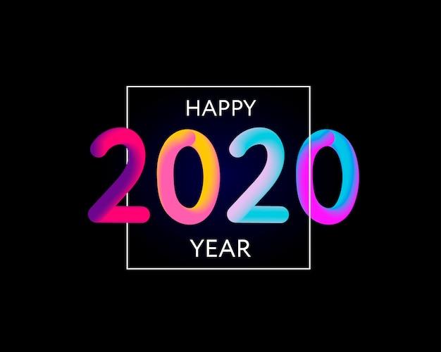Feliz ano novo 2020 design de texto Vetor Premium