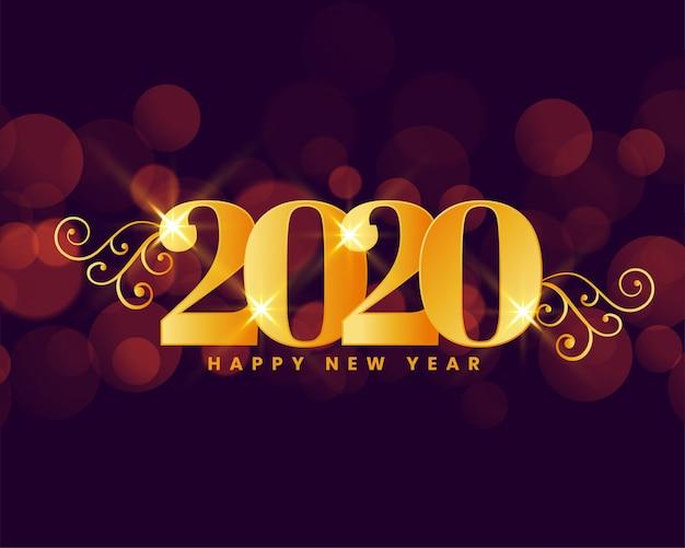 Feliz ano novo 2020 dourado real saudação fundo Vetor grátis