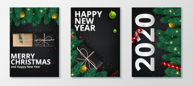 Feliz ano novo 2020 e feliz natal cartão conjunto Vetor Premium