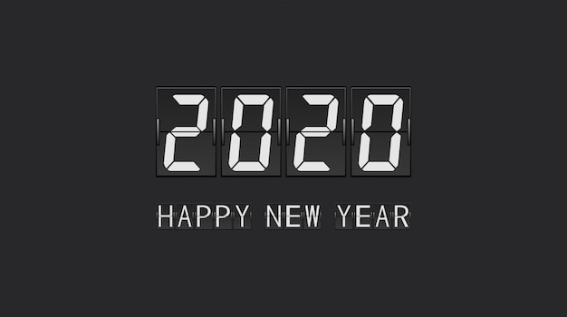 Feliz ano novo 2020 em contagem regressiva flip board painel carta design Vetor Premium