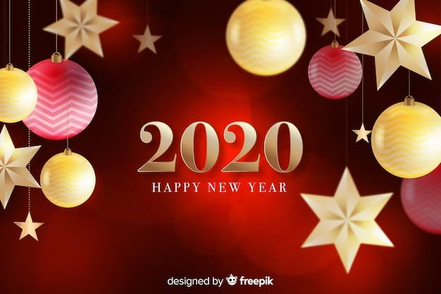Feliz ano novo 2020 em fundo vermelho com globos e estrelas Vetor grátis