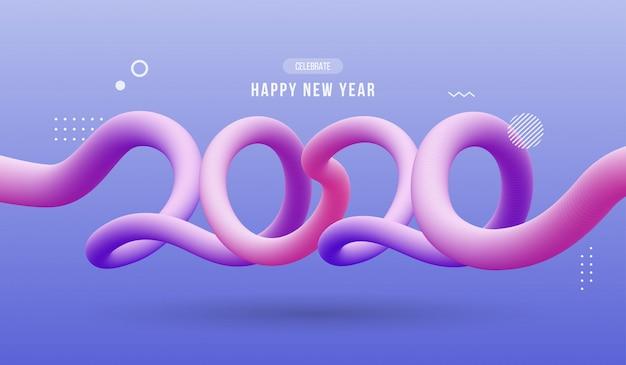 Feliz ano novo 2020, fluido ondulado abstrato Vetor Premium