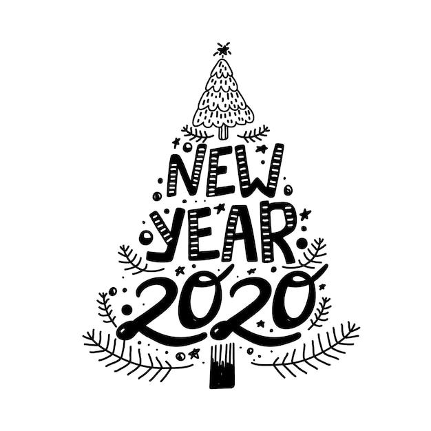 Feliz Ano Novo 2020 Frase De Caligrafia Em Forma De árvore