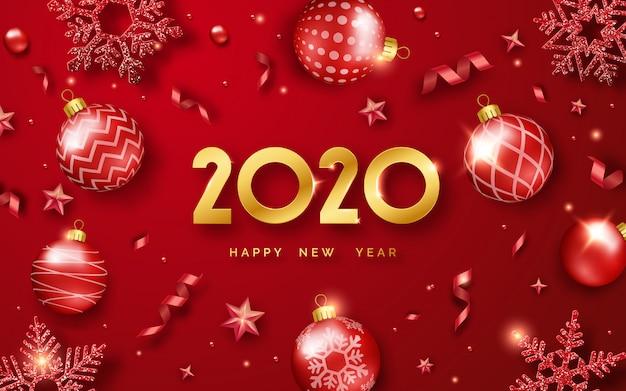 Feliz ano novo 2020 fundo com brilhantes números e fitas Vetor Premium