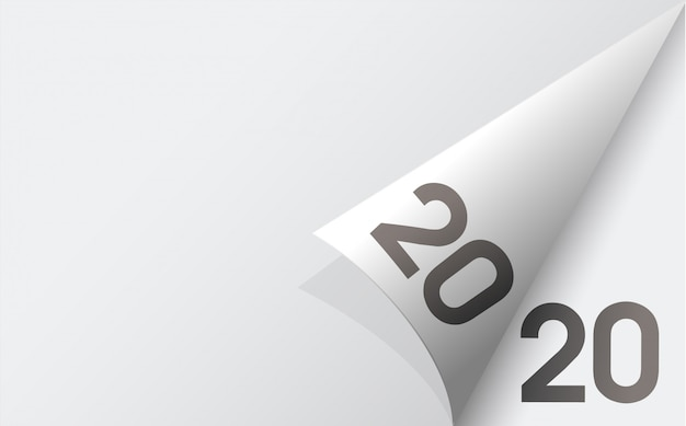 Feliz ano novo 2020 fundo com fundo de folhas de papel branco macio. Vetor Premium
