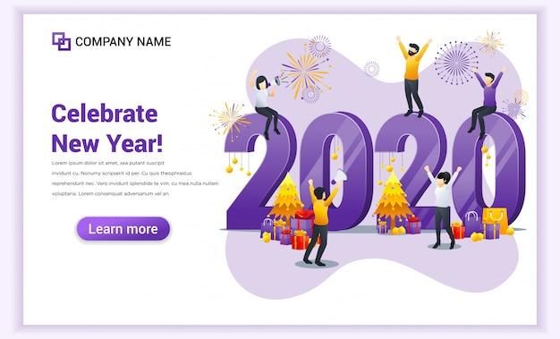 Feliz ano novo 2020 landing page Vetor Premium