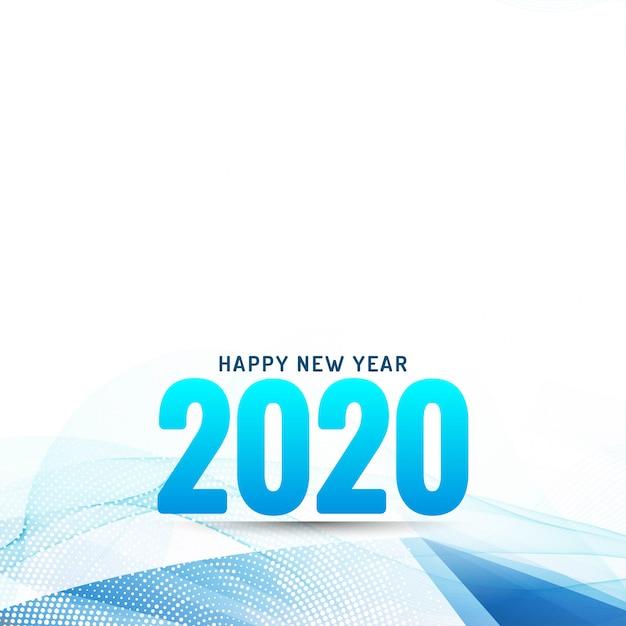 Feliz ano novo 2020 moderno fundo ondulado Vetor grátis