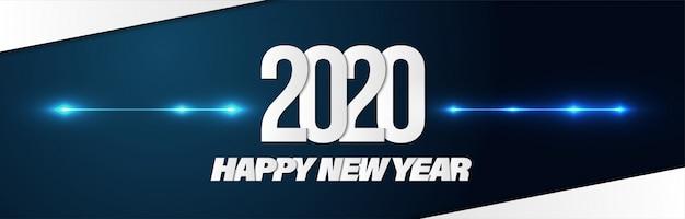 Feliz ano novo 2020 poster banner plano de fundo para publicidade. Vetor Premium