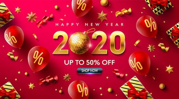 Feliz ano novo 2020 promoção cartaz ou banner com balões vermelhos Vetor Premium