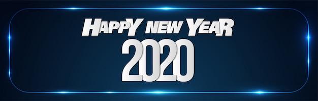 Feliz ano novo 2020 promoção vendas banner fundo Vetor Premium