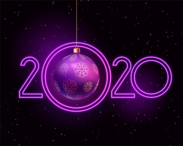 Feliz ano novo 2020 roxo estilo neon Vetor grátis