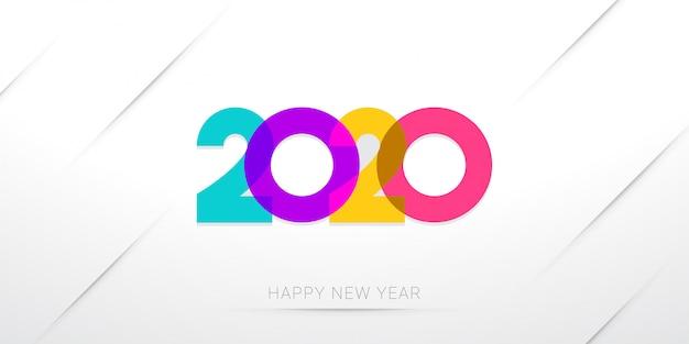 Feliz ano novo 2020 saudação modelo mínimo em branco Vetor Premium