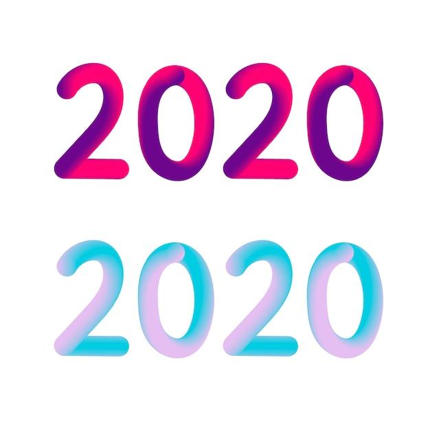 Feliz ano novo 2020 texto Vetor Premium