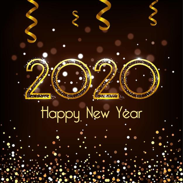 Feliz ano novo 2020 vector design Vetor Premium