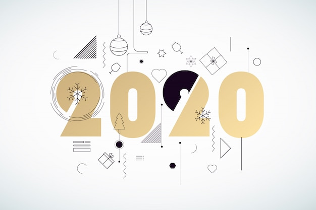 Feliz ano novo 2020 Vetor Premium