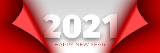 Feliz ano novo 2021 cartaz. fita vermelha com bordas curvas no fundo branco. adesivo Vetor Premium
