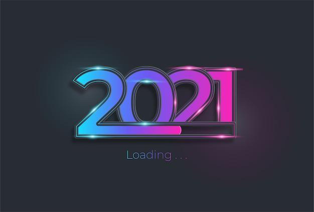Feliz ano novo 2021 com barra de carregamento na cor neon Vetor Premium