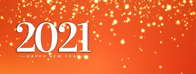 Feliz ano novo 2021 design de banner brilhantes Vetor Premium