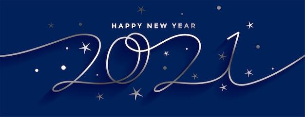 Feliz ano novo 2021 design de banner em estilo linha de prata Vetor grátis