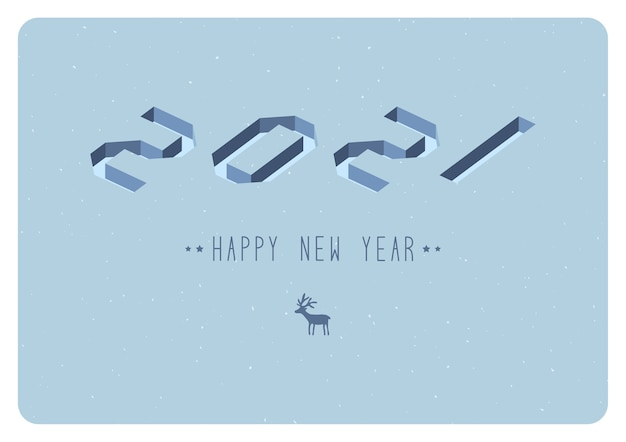 Feliz ano novo 2021 design de texto do logotipo. ilustração vetorial Vetor Premium