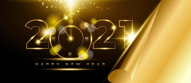 Feliz ano novo 2021, fundo com número dourado e relógio Vetor grátis