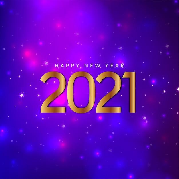 Feliz ano novo 2021 fundo violeta cintilante Vetor grátis