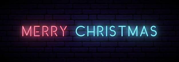 Feliz ano novo banner de néon. Vetor Premium