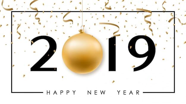 Feliz ano novo banner minimalista com bola de ouro. Vetor Premium