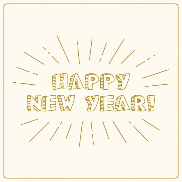 Feliz ano novo, banner vintage dourado, mão de cartão de férias desenhada. Vetor Premium
