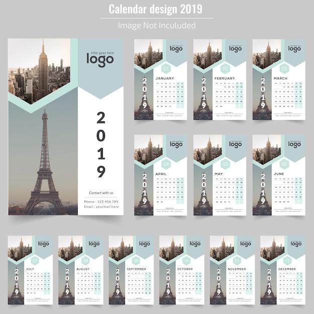 Feliz ano novo calendário de parede 2019 Vetor Premium