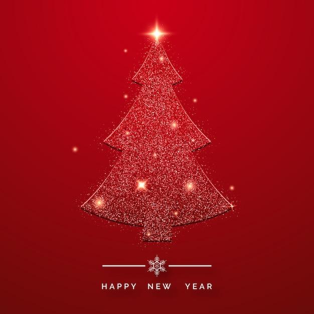 Feliz ano novo cartão com brilhantes árvores de natal Vetor Premium