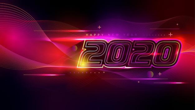 Feliz ano novo cartão com efeito de luz neon Vetor Premium