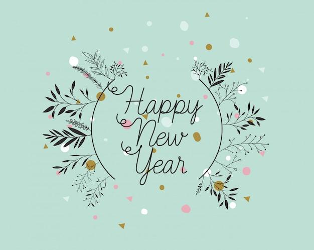 Feliz ano novo cartão de caligrafia com coroa de folhas Vetor grátis