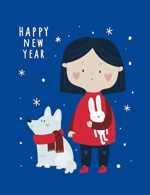 Feliz ano novo, cartão de férias festivas de natal com giro bebê menina e cão de estimação Vetor Premium