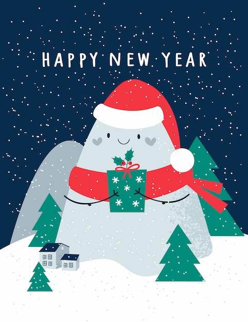 Feliz ano novo, cartão de férias festivas de natal com giros montanhas, árvores de natal. casas em fundo com flocos de neve Vetor Premium