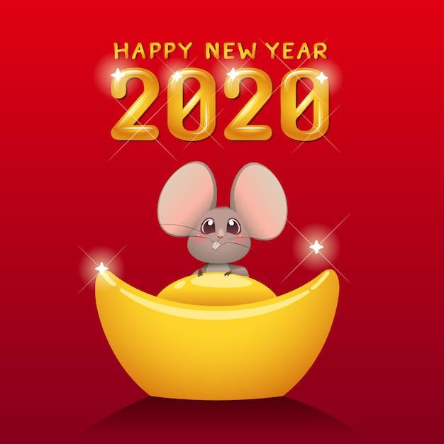 Feliz ano novo chinês 2020 ano do rato. Vetor Premium