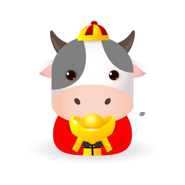 Feliz ano novo chinês 2021, boi pequeno segurando ouro chinês, o ano do zodíaco boi, vaca bonita ilustração dos desenhos animados isolada no fundo branco. Vetor Premium