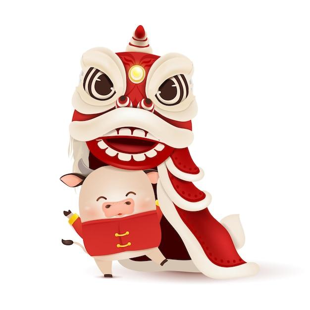 Feliz ano novo chinês 2021. desenho de personagens de boi pequeno com cabeça de dança do leão do ano novo chinês, traje tradicional chinês vermelho. Vetor Premium