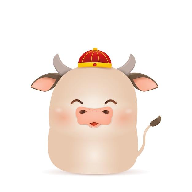 Feliz ano novo chinês 2021. desenho de personagens de little ox com traje tradicional chinês vermelho, segurando o lingote de ouro chinês isolado. o ano do touro. zodíaco do boi. Vetor Premium