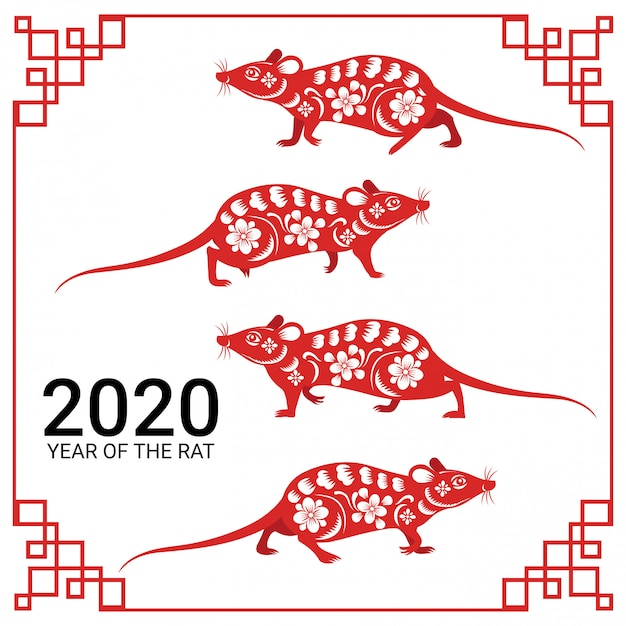 Feliz ano novo chinês ano 2020 do papel de sinal do zodíaco rato cortado estilo de arte e artesanato Vetor Premium