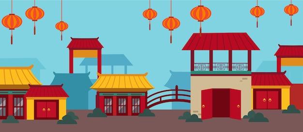 Feliz ano novo chinês cartão conjunto Vetor Premium